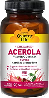 Country Life Chewable Acerola Berry Flavor - 90 Wafers - Supports Immune Health - Includes Antioxidant Prop...