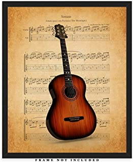 Vintage Guitar Sheet Music Wall Art Print: Unique Room Decor for Boys, Men, Girls & Women - (8x10) Unframed Picture - Great Gift Idea Under $15 for Music Lovers!