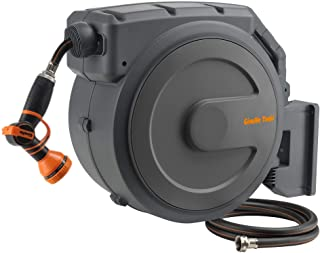 180 Degrees Swiveling Easy Rewind and Lightweight Wall-Mounted Hose Reel with Quick Release Connectors Hengda Auto Hose Reel 30+2m