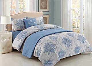 Elegance Linen 5-Piece Set: Luxury Bedding Ensemble with Comforter and Quilted Bedspread - King, Blue