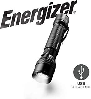 Energizer LED Tactical Metal Flashlight, Ultra Bright 700 High Lumens, Durable Aircraft-Grade Metal Body, IPX4 Water-Resistant, 4 Modes, Rechargeable Flashlight Option