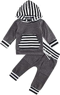 chicolife 2PCS Kleinkind Langarm Hoodie Sets Baby Jungen Patchwork Tops Trainingsanzug Kordelzug Hosen Outfit 0-24 Monate Madchen