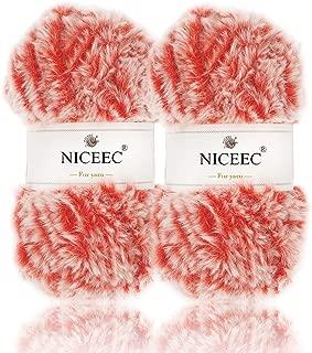 NICEEC 2 Skeins Super Soft Fur Yarn Chunky Fluffy Faux Fur Yarn Eyelash Yarn for Crochet Knit-Total Length 2×32m(2×35yds,50g×2)-Roman Red