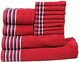 CASA COPENHAGEN Trident Premium Candy Stripes Soft and Light 100% Combed Cotton 400 GSM 12-Pieces (Bath, Hand & Wash Cloth) Towel Gift Set, Red