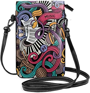 Jiger Women Small Cell Phone Purse Crossbody,Music Themed Hand Drawn Abstract Instruments Microphone Drums Keyboard Stradi...
