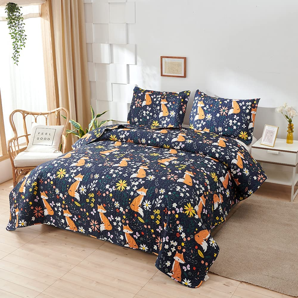 Kids Fox Quilt Twin Genuine Max 48% OFF Size,Boys Cute Coverlet Bedspread Anima