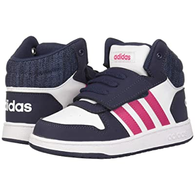 adidas Kids Hoops Mid 2.0 (Infant/Toddler) (White/Real Magenta/Trace Blue) Kid