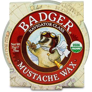 Badger - Mustache Wax, Medium Hold, Natural Mustache Wax, Certified Organic, Styling Facial Hair Wax, Moustache Wax, 0.75oz