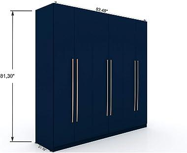 "Manhattan Comfort Gramercy Contemporary Modern Freestanding Wardrobe Armoire Closet, 82.48"", Tatiana Midnight Blue"