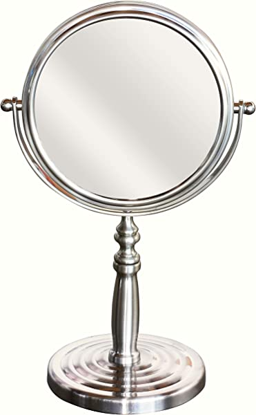 DecoBros 6 Inch Tabletop Two Sided Swivel Vanity Mirror With 8x Magnification Nickel