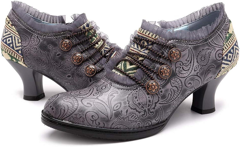 CrazycatZ Women Leather Pumps, Leather Oxford Vintage Floral Mid Heel shoes Lace Trim Leather shoes