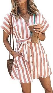 Womens Fashion Stripe Short Sleeve Wrap V-Neck Casual Summer Button Front Mini Short Shirt Dress with Belt