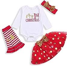 Newborn 1st Christmas Baby Girl Skirt Outfits Romper Long Sleeve Bowknot Dot Tutu Skirt Headband Christmas Tree Set