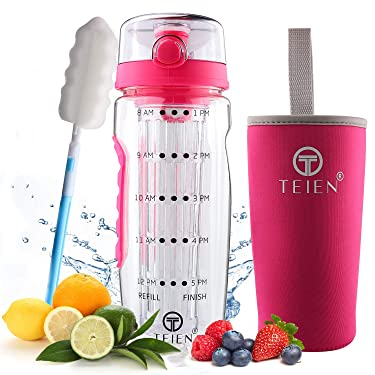 Marked Fruit Infuser Water Bottle - Infusing Flask for Flavored, Veggie Drinks - Time Marker for Hydration & Daily Intake - Leak-Proof Lid, Storage Sleeve, Big Infusion Basket - 32oz (Pink)