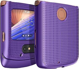 Case for Motorola RAZR 5G Flip Phone, Nakedcellphone [Purple] Protective Snap-On Hard Shell Slim Cover [Grid Texture] for ...