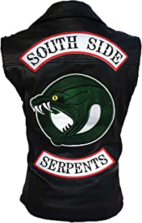 Royal You Riverdale Southside Women's Snake Patch Embroidered Logo Real Leather Black Vest
