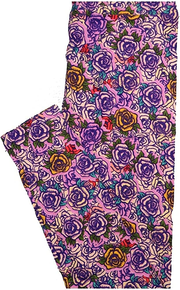 Lularoe One Size OS Roses Lavender Purple Yellow Red Buttery Soft Leggings - OS fits Adults 2-10
