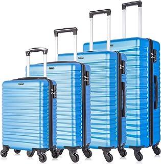 4 PCS Luggage Sets TSA Lock Travel Suitcase Hardshell Carry On Luggage with Spinner Wheels (TSA Lock, Light Blue)