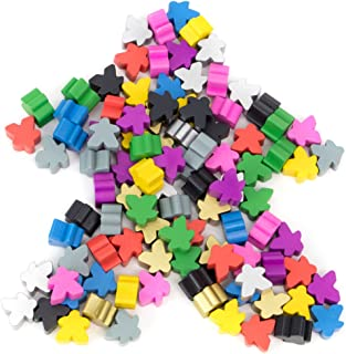 100 Wooden Meeples - 16mm Extra Board Game Bits, Pawns, and Pieces in 10 Colors - Bulk Replacement Tabletop Gaming components and Upgrade Accessories for Assorted Fantasy Strategy Games and Expansions