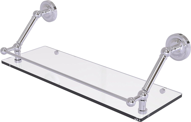 Allied Brass PR-1-24-GAL-PC Prestige Regal 24 inch Floating Glass Shelf with Gallery Rail