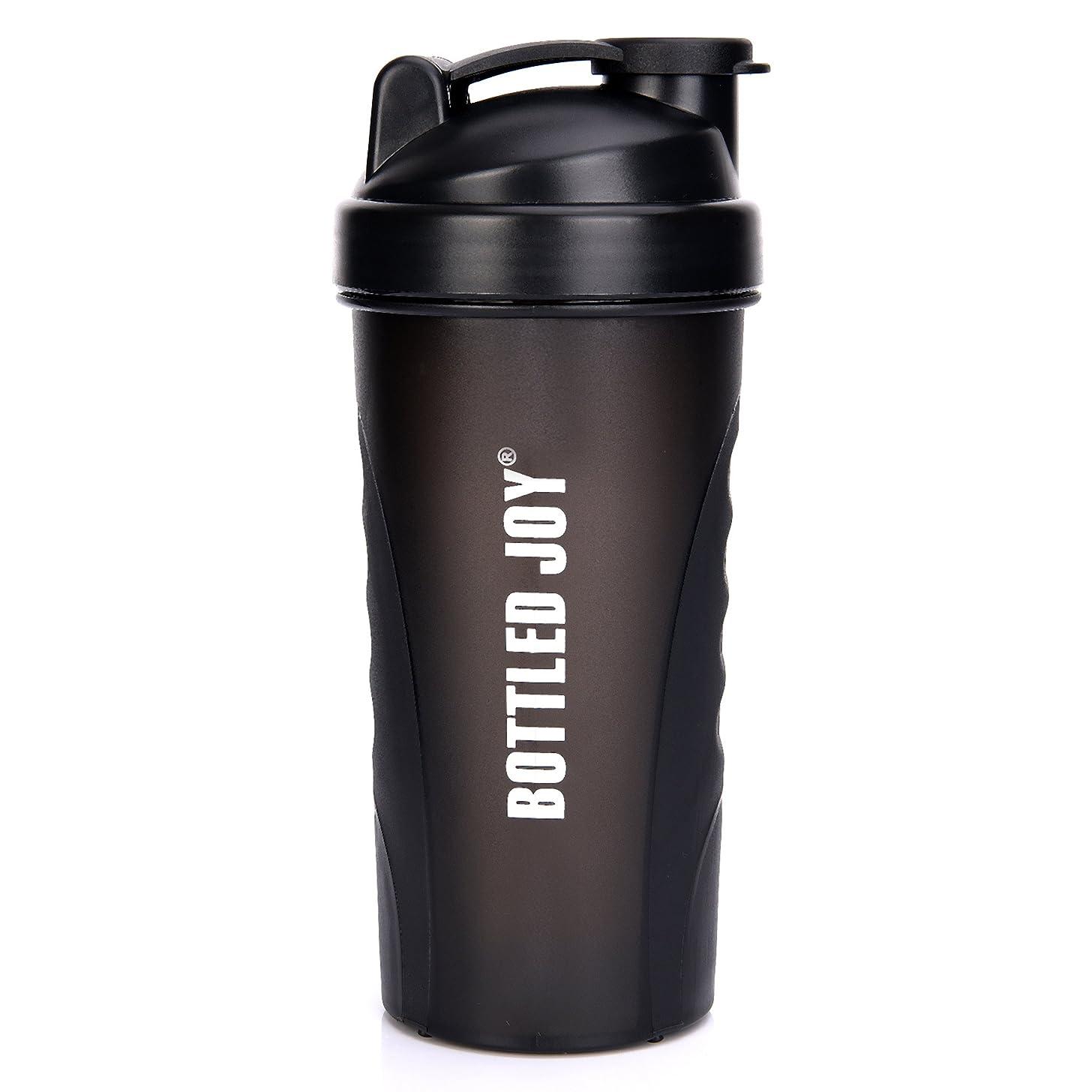 BOTTLED JOY Protein Shaker Bottle, Non-Toxic Wide Mouth 100% Leak Proof Shake Water Bottles 27oz 800ml (Black)