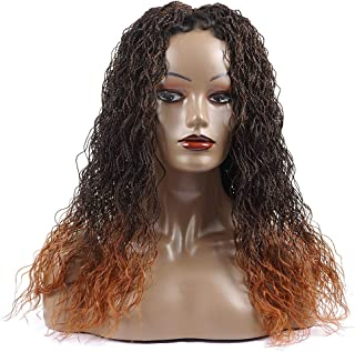 "Braided Synthetic Hair Wigs, Shining Star 26"" Pure Handmade Micro Braided Water Wave Synthetic Hair Lace Front Wigs with Babay Hair for Women"