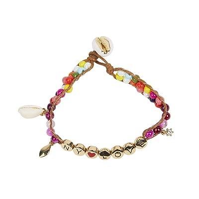 Rebecca Minkoff NY Love Beaded Bracelet (Gold/Pink) Bracelet