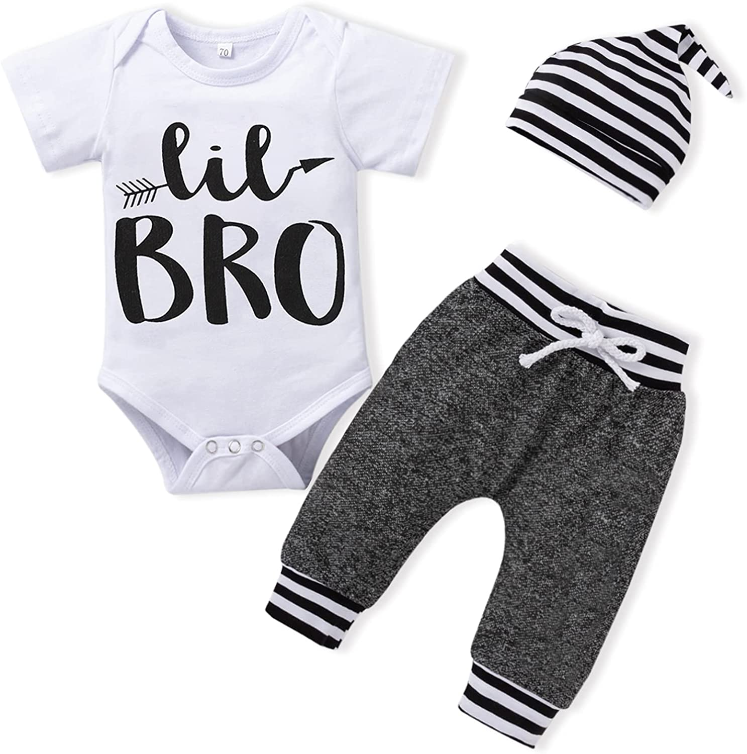 Newborn Boy Outfits Little Brother White Romper Short Sleeve Tops+Baby Boy Clothes Striped Pants+Hat 3PCS(0-12months)