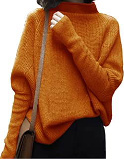 Liny Xin Women's Oversized Chunky Winter Wool Half Turtleneck Batwing Sleeve Knitted Pullover Sweater