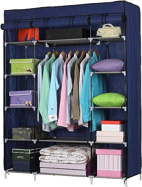 Lykos 5 Layer 12 Compartment Non Woven Fabric Wardrobe Portable Closet Navy 133x46x170cm