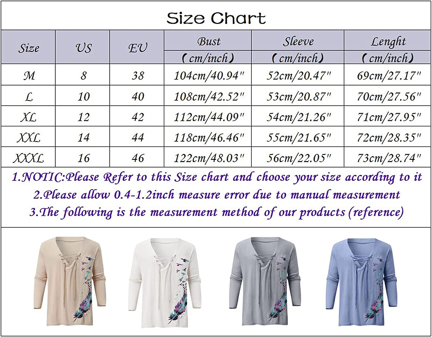 WOCACHI Lace-up Long Sleeve Shirts For Mens, Henley Drawstring Butterfly Printed Loose Fit Tee Shirt Casual Solid Tops