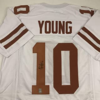 Autographed/Signed Vince Young Texas White College Football Jersey GTSM COA Holo Only
