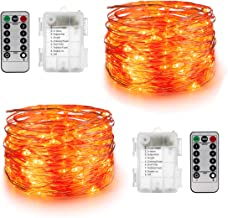 YIHONG Set of 2 Orange Lights for Halloween - 16.4ft Battery Operated Fairy String Lights - 50 LEDs Twinkle Firefly Lights with Remote Control for Garden,Thanksgiving Day,Christmas Indoor Decoration