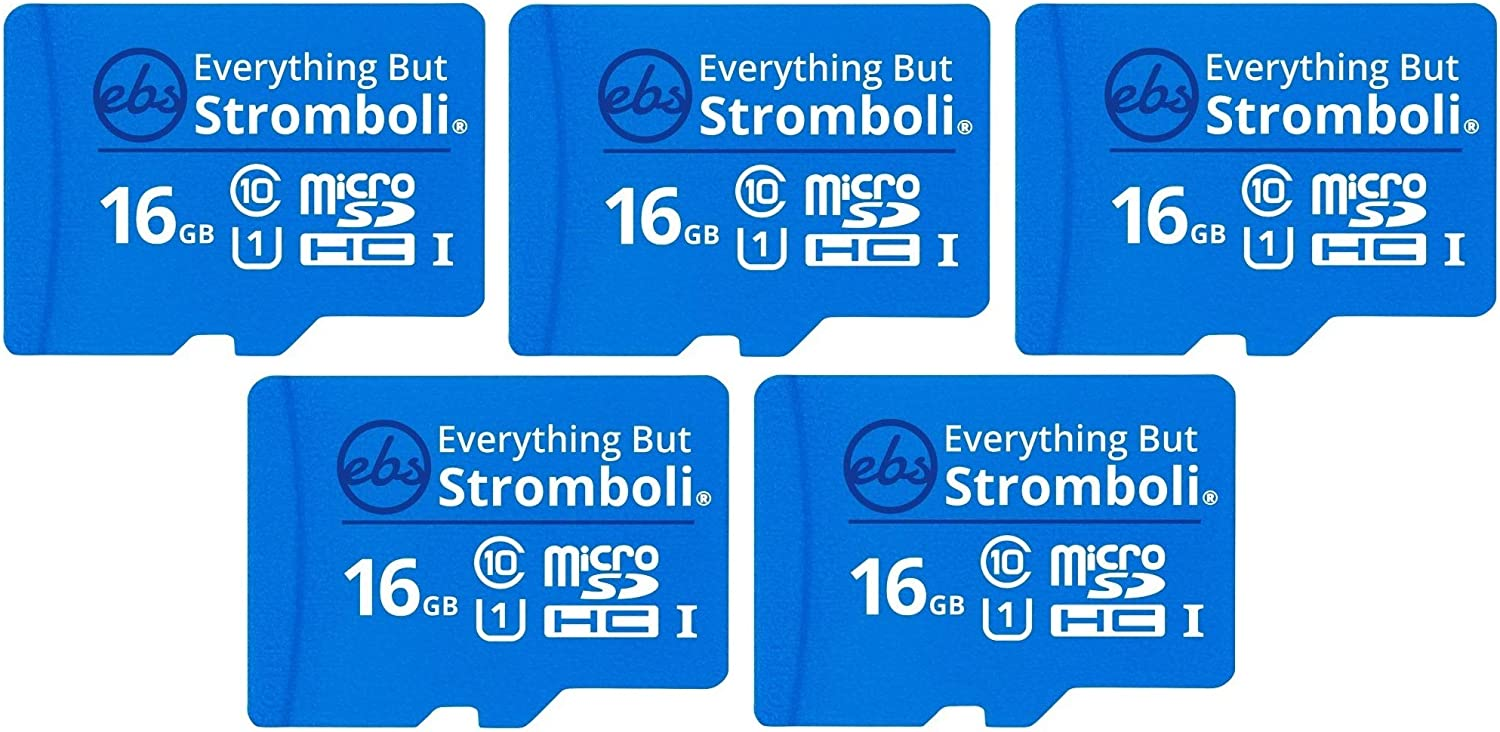 Everything But Stromboli 16GB MicroSD Memory Card w/Adapter (Bulk 5 Pack) Class 10, U1, UHS-1, Micro SDHC Card for Compatible Raspberry Pi, Dash Cam, Galaxy Tablet/Phones, Digital Cameras, Trail Cam
