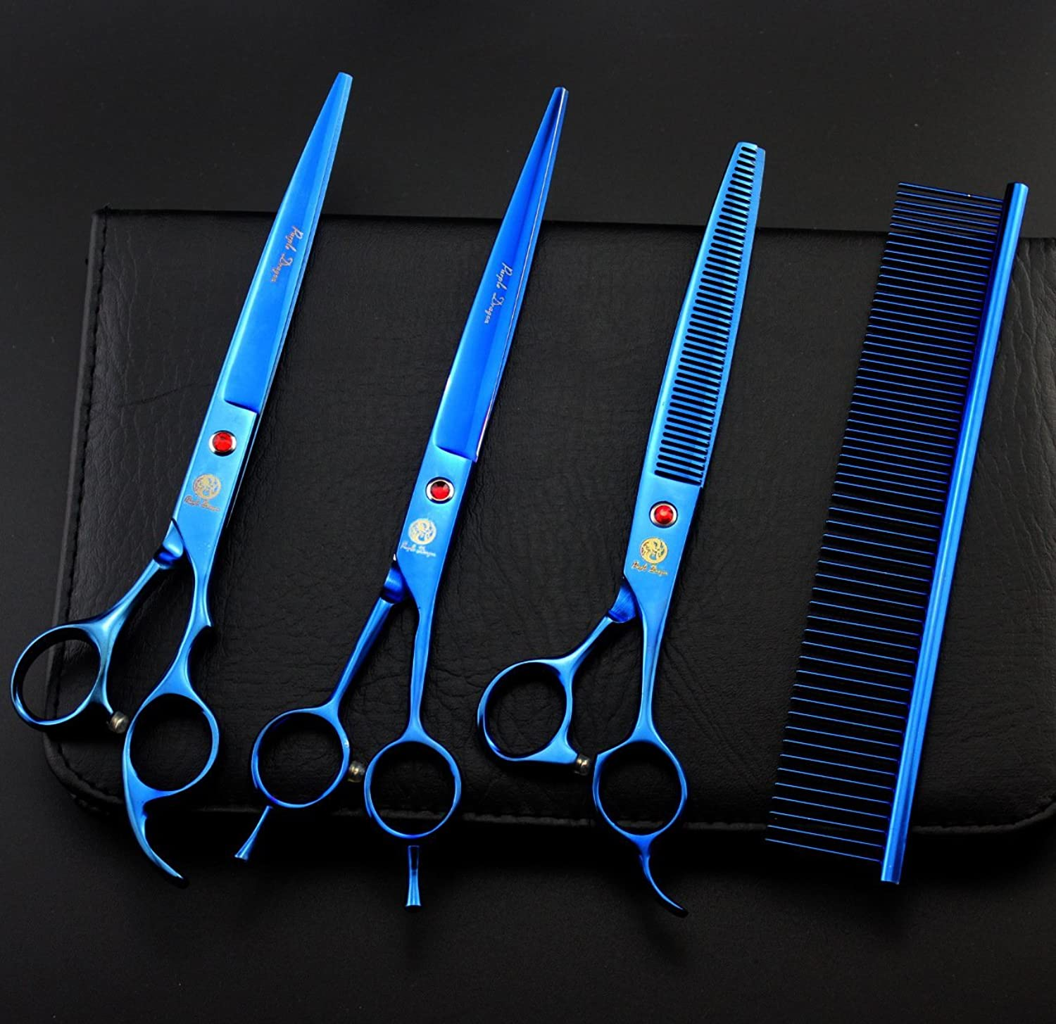 8 Inch Professional bluee 440C Steel Material Pet Grooming Hair Scissors Dog Grooming Shear with Bag