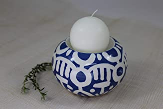 Porta candela sferico in ceramica handmade dipinto a mano