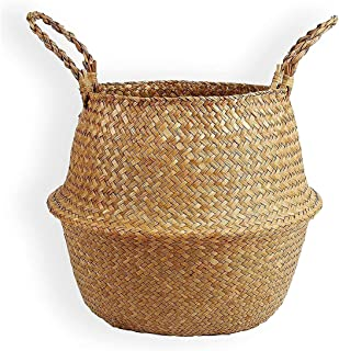 "15""/16.5"" Natural Seagrass Belly Basket, Open Storage Basket, Laundry Basket, Picnic And Straw Beach Bag-Flowerpot Decorat..."