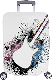 Guitar Simple Luggage Cover,Abstract Silhouette of Musical Instrument with Grungy Color Splashes Creating Melody Decorative for Home,L