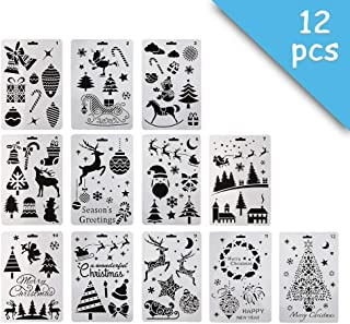 12 Pcs Plastic Painting Stencil,Christmas Themes Santa Claus Snowman Christmas Tree Snow Elk Jingle Bell Drawing Spraying Templates 10