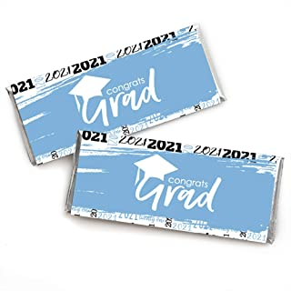 Big Dot of Happiness Light Blue Grad - Best is Yet to Come - Candy Bar Wrapper Light Blue 2021 Graduation Party Favors - S...
