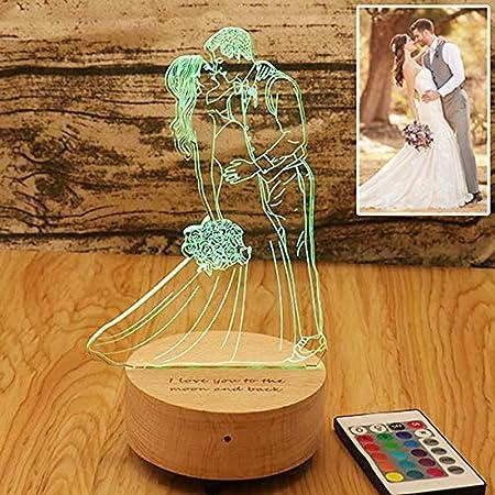 16 colori Personalizzato Foto personalizzata 3D lampada Bluetooth foto incisione Testo personalizzato Migliori regali Anniversario di matrimonio Regali di Natale di Natale