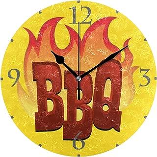 MIKA BBQ バーベキュー 掛け時計 置き時計 兼用 インテリア 連続秒針 壁掛け時計 静音 寝室 部屋 壁掛時計 おしゃれ 25cm 掛時計