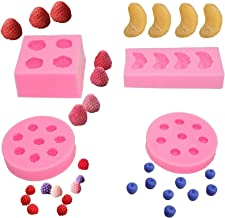4pcs/set Fruit Shaped Jelly Molds 3d Strawberry, Orange,Raspberry & Blueberry Silicone Fondant Molds Soap Embed Molds Wax ...
