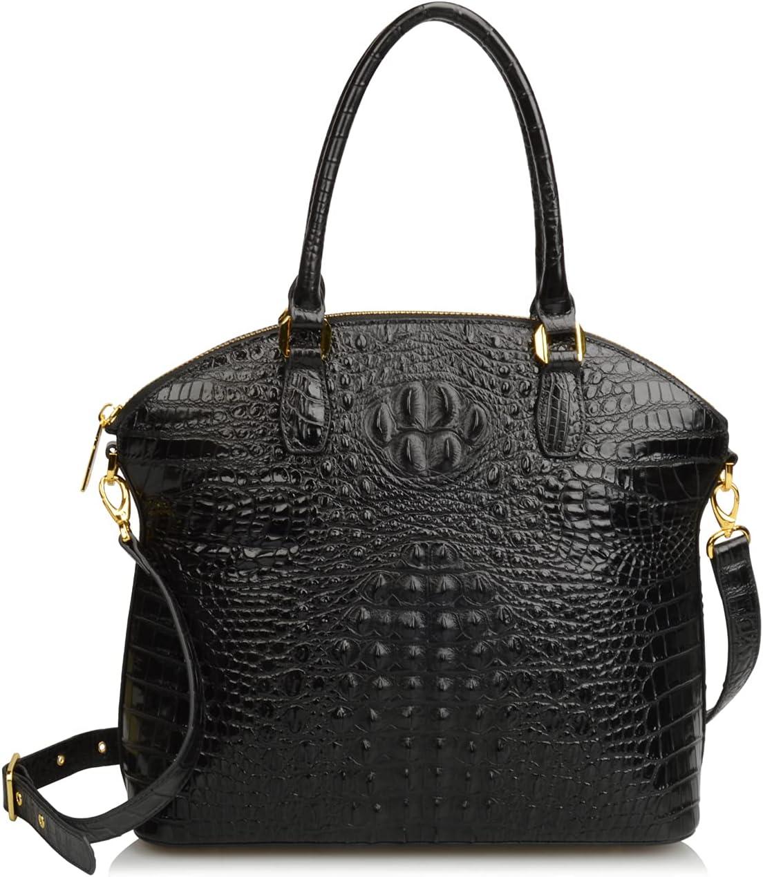 حقائب يد نسائية من الجلد الطبيعي منقوش عليها تمساح كبيرة بمقبض علوي من Ainifeel