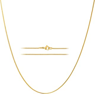 24k Gold Over Stainless Steel 1.2mm Thin Box Chain Necklace, 14-36 inches