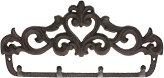 Comfify Decorative Cast Iron Wall Hook Rack - Vintage Design Hanger with 4 Hooks - for Coats, Hats, Keys, Towels, Clothes, Aprons etc |Wall Mounted - 12.25 x 5.75- with Screws and Anchors
