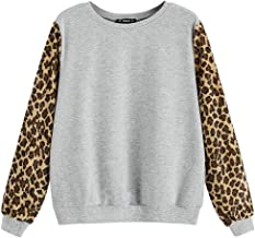 Xinantime Womens Cute Leopard Print Sleeve Shirts Casual Loose Long Sleeve Pullover Patchwork Sweatshirt Top Blouse