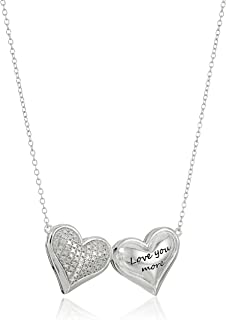 """Sterling Silver Diamond Accent """"Love You More"""" Double Puff Hearts Necklace, 16"""" + 2"""" Extender"""