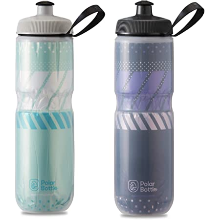 Polar Bottle 2 Pack Tempo Sport Insulated 24 Oz Water Bottle - Mint/White and Charcoal/Pink Combo - BPA Free, Sports Water Bottle with Tri-Layer Insulation and Leak Proof Sport Cap