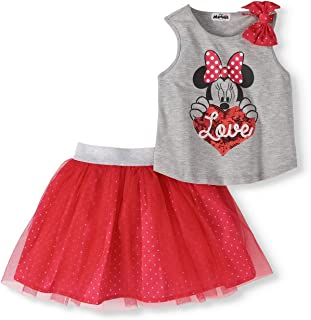 Minnie Mouse Girls Bow Tank Top and Scooter Skirt Set Size 10/12 Red